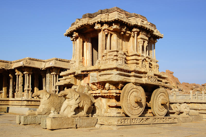 Ancient ruins of Stone chariot. Hampi, India. royalty free stock image