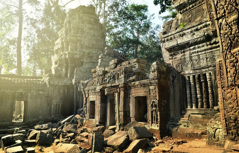 Ancient ruins of Ta Prohm temple, Angkor Cambodia stock photo