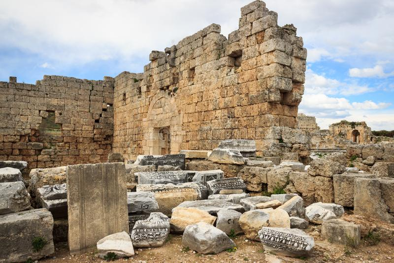 Ancient ruins of temple from Roman Empire in Antalya, Turkey stock image