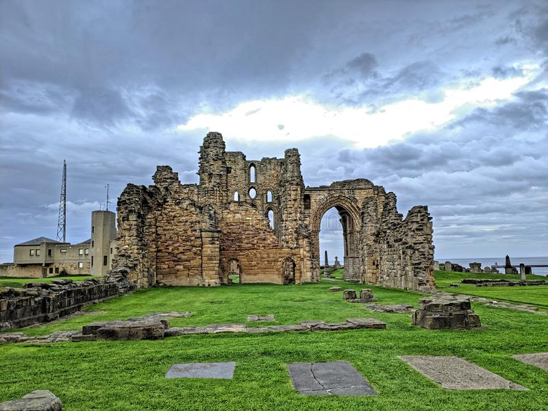 Tynemouth Priory and the Old Coastguard Station royalty free stock photos