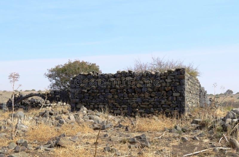 Ancient ruins of Yehudiya village, Golan Hights, Israel stock images