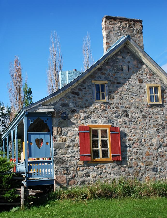 Ancient rural stone house in Quebec Canada. Ancient rural stone house with heart shape in Quebec Canada stock images