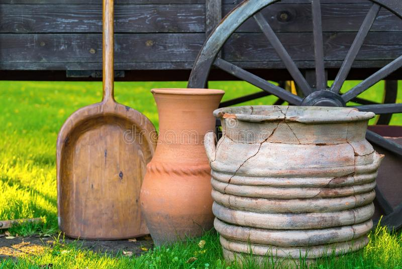 Ancient rural ware and utensils stock image