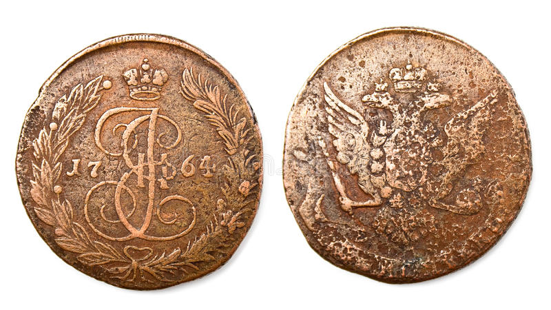 Ancient russian coin stock photo