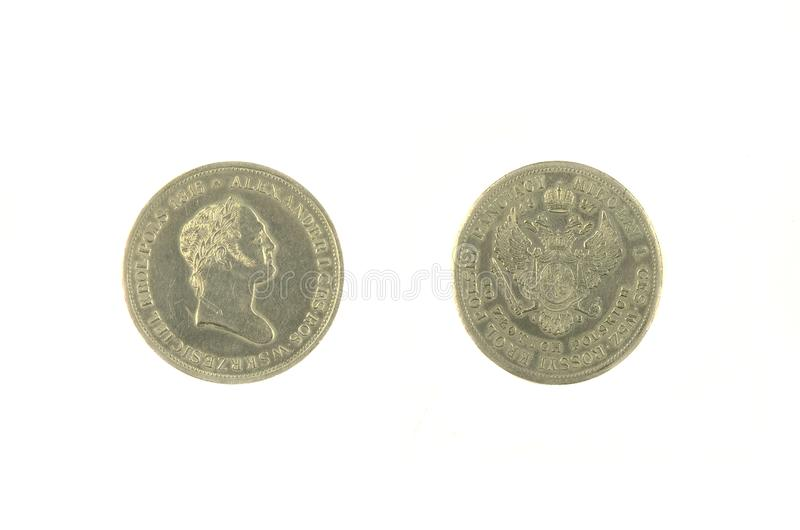 ancient russian coin Alexander 1, 1815 copy space, isolated stock photography
