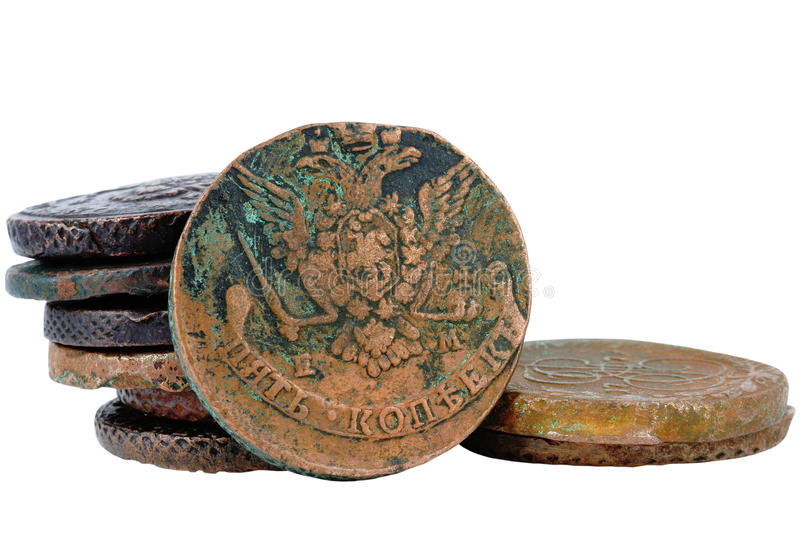 Ancient russian coins. Is insulated on white background stock images