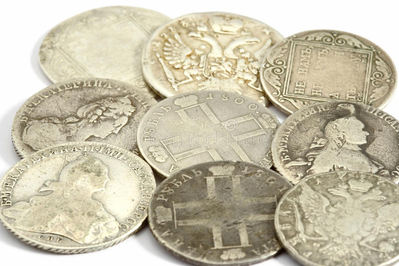 Ancient russian coins. On the white background stock images
