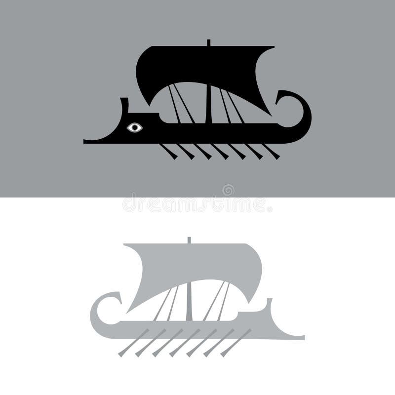 Ancient sailboat, Greek warship, Trireme vessel. Ancient sailboat, Greek warship, Trireme vessel (vector silhouette) stock illustration