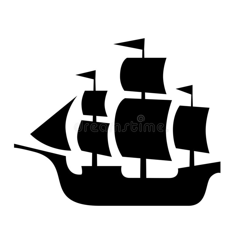 Ancient sailboat, medieval caravel, pirate ship, navigate vessel. Ancient sailboat, medieval caravel, pirate ship, navigate vessel (vector silhouette) royalty free illustration