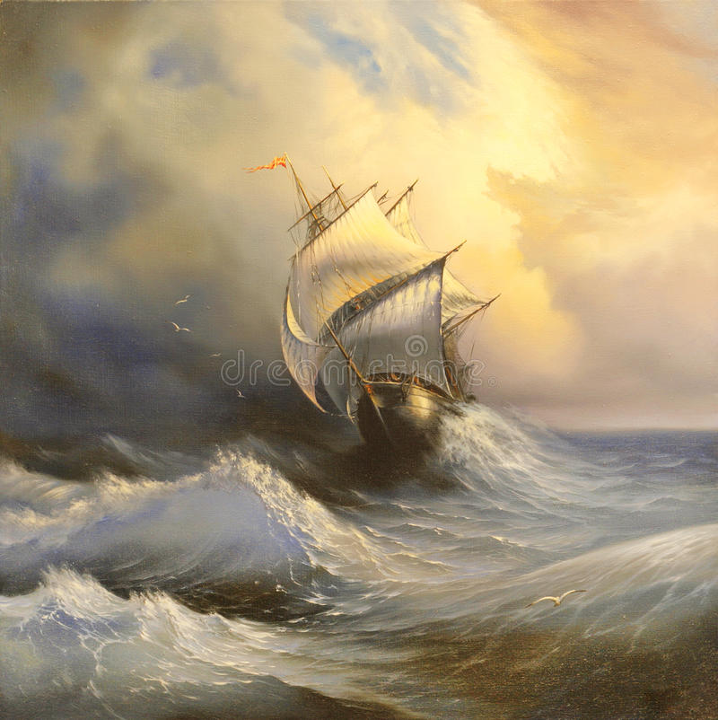 Ancient sailing vessel in stormy royalty free illustration
