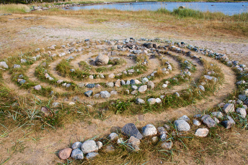Ancient Sami stone labyrinth on Solovetsky Island stock image
