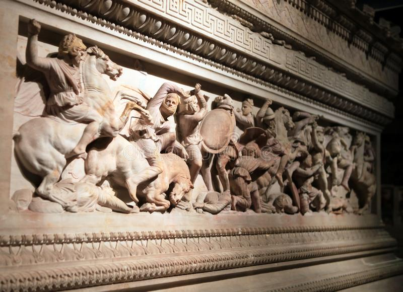 Ancient Sarcophagus Detail. In Istanbul Archeology Museum royalty free stock photos