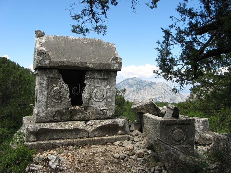 Ancient sarcophagus in Termessos stock photography