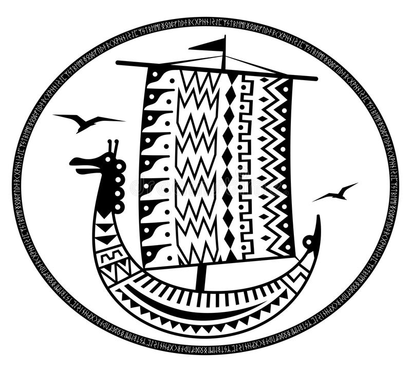 An ancient Scandinavian image of a Viking ship decorated with an ancient pattern with a dragon head, Old Norse runes and. The inscription Thule - the legendary royalty free illustration