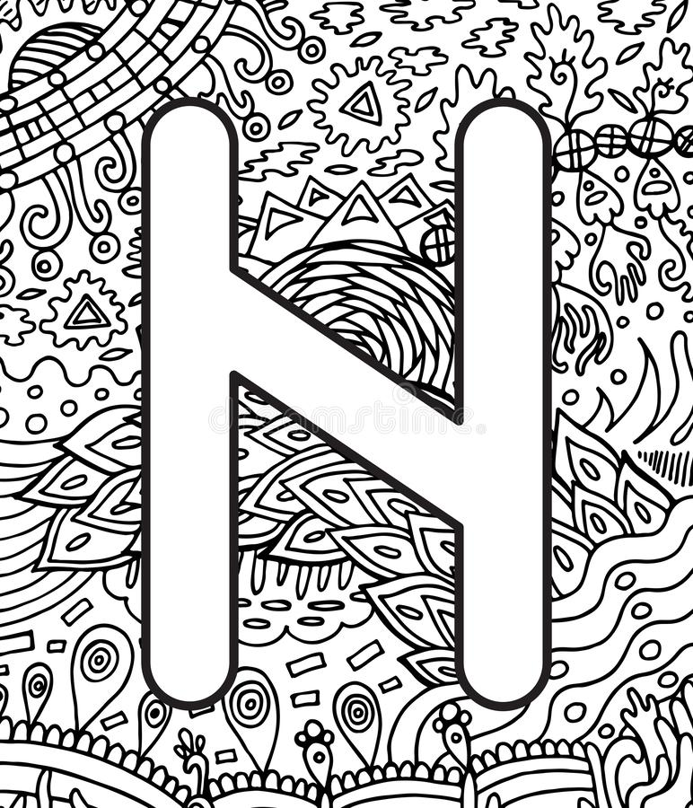 Ancient scandinavic rune hagall with doodle ornament background. Coloring page for adults. Psychedelic fantastic mystical artwork. Vector illustration royalty free illustration