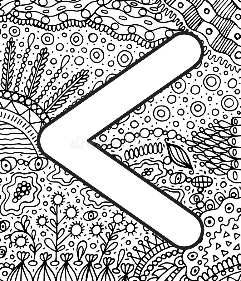 Ancient scandinavic rune kanu with doodle ornament background. Coloring page for adults. Psychedelic fantastic mystical artwork. Vector illustration royalty free illustration