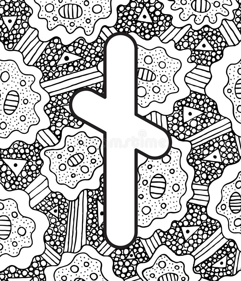 Ancient scandinavic rune nyedis with doodle ornament background. Coloring page for adults. Psychedelic fantastic mystical artwork. Vector illustration royalty free illustration