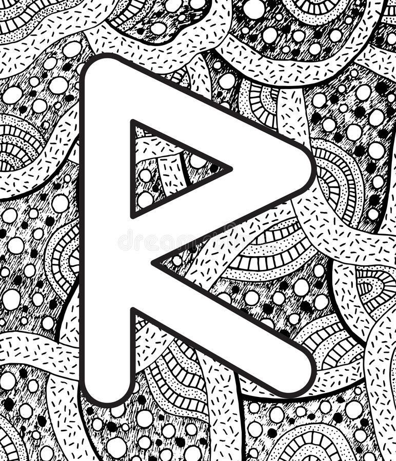 Ancient scandinavic rune raido with doodle ornament background. Coloring page for adults. Psychedelic fantastic mystical artwork. Vector illustration vector illustration