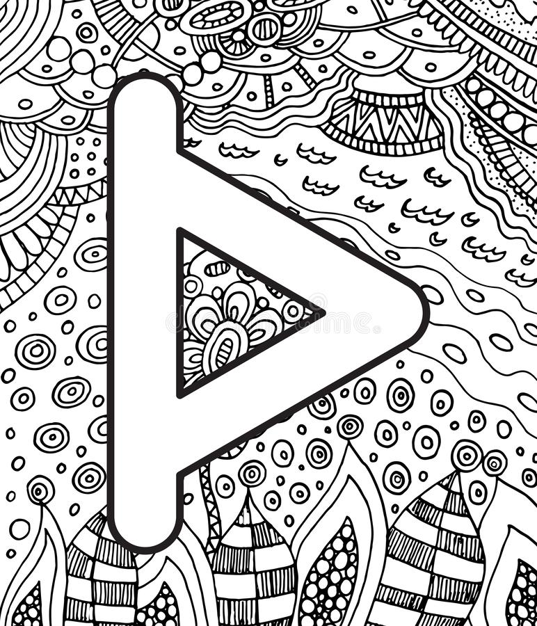 Ancient scandinavic rune turizas with doodle ornament background. Coloring page for adults. Psychedelic fantastic mystical artwork. Vector illustration vector illustration
