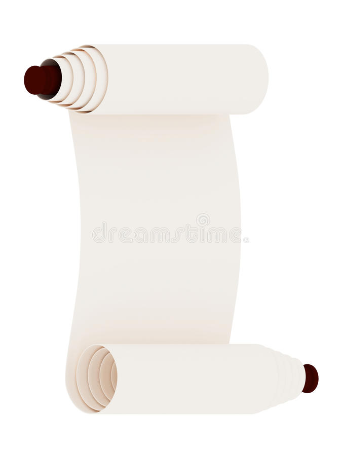 Ancient scroll. Isolated on white background vector illustration