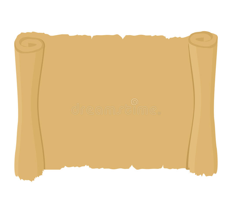 Ancient scroll clean. Old blank parchment. Retro paper document. stock illustration