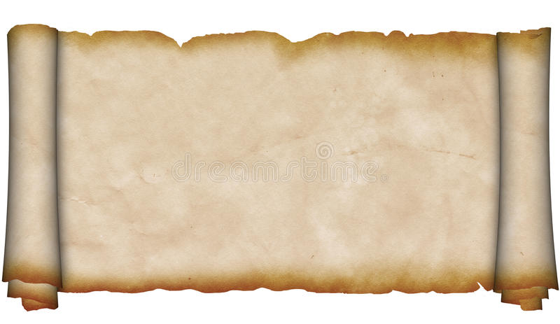 Ancient scroll of parchment. stock image