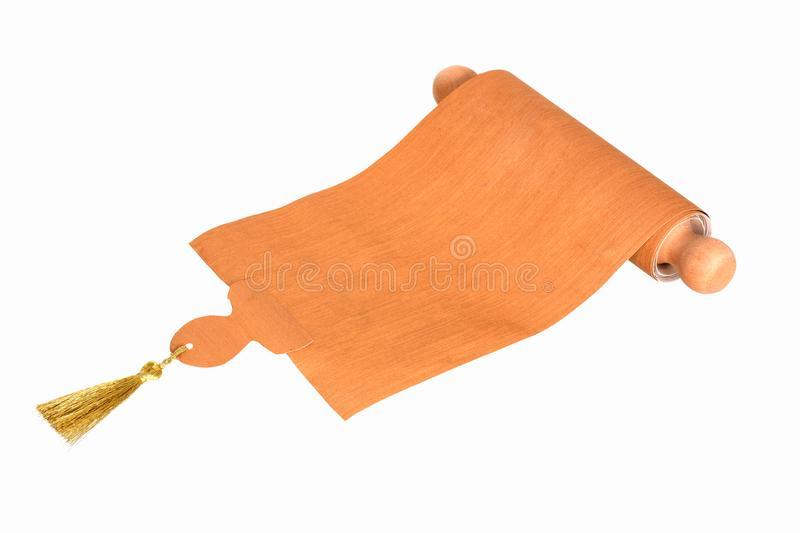 Ancient scroll parchment with wooden handle and tassel royalty free stock photo