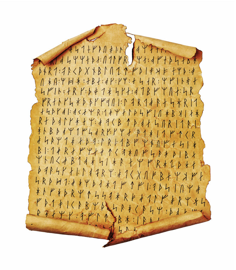 Ancient scroll with the Scandinavian runes. Isolated on white. Old paper document with hieroglyphic writing stock images
