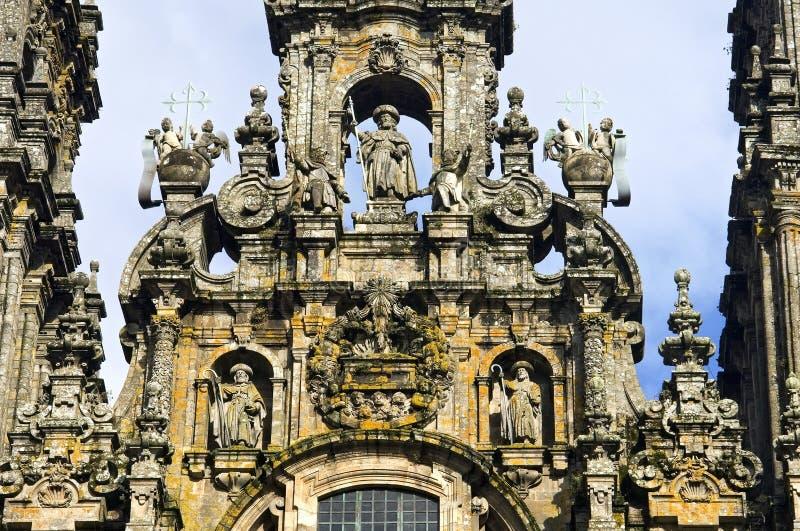 Ancient sculptor art of the Saint James cathedral. Spain, A Coruna province, region Galicia, Santiago de Compostela city: details of the baroque west portal stock photo