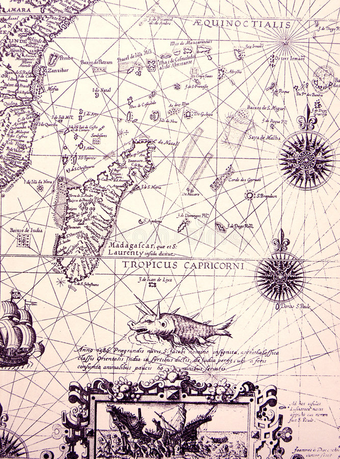 Free Ancient Sea Chart, Details Stock Photography - 7030082