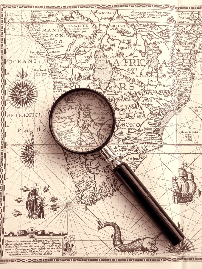 Download Ancient Sea Chart, Magnifier Stock Photo - Image: 6990464