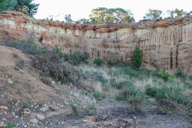 The ancient sediments of 'Red Hill' was the site of the 1851 Mount Alexander gold rush. In Australia stock images