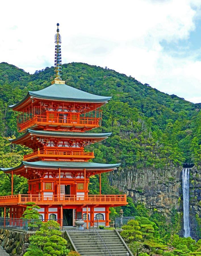 Ancient Seigantoji Temple Pagoda and Nachi Waterfall in Kii-Katsuura, Japan royalty free stock images
