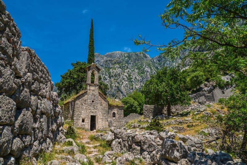 Ancient Serbian church ruins stock photography