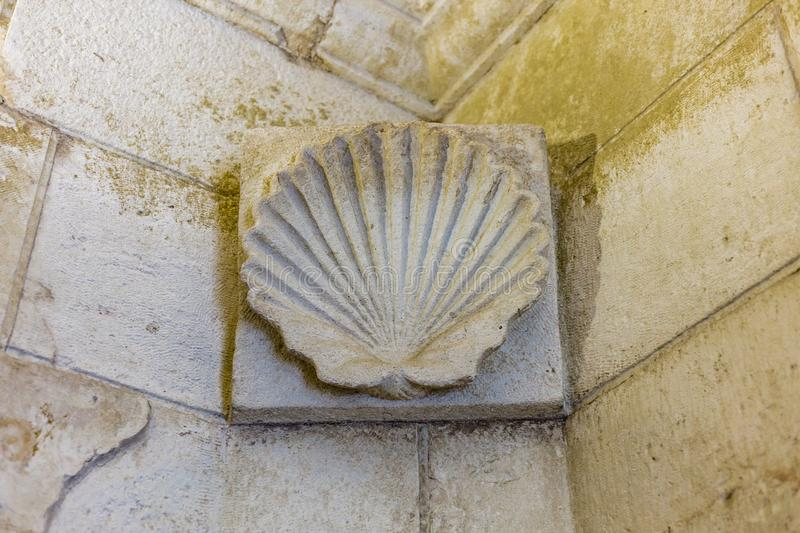 Ancient shell-shaped sculpture. Shell carved in a wall frieze stock photo