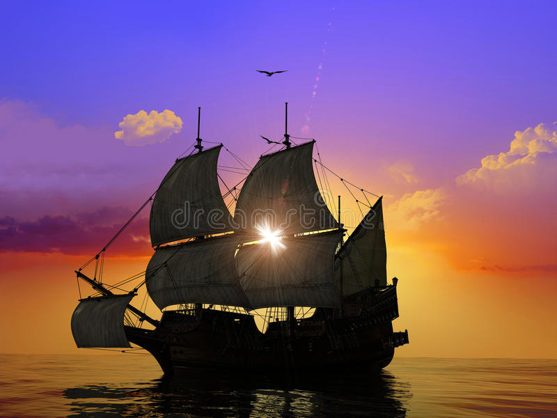 The Ancient Ship Stock Image
