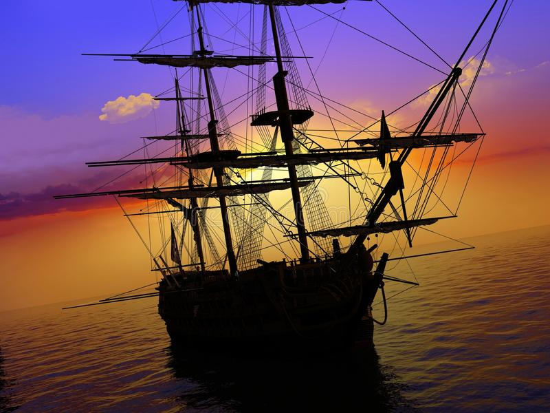 Download The ancient ship stock illustration. Image of sailboat - 11229723