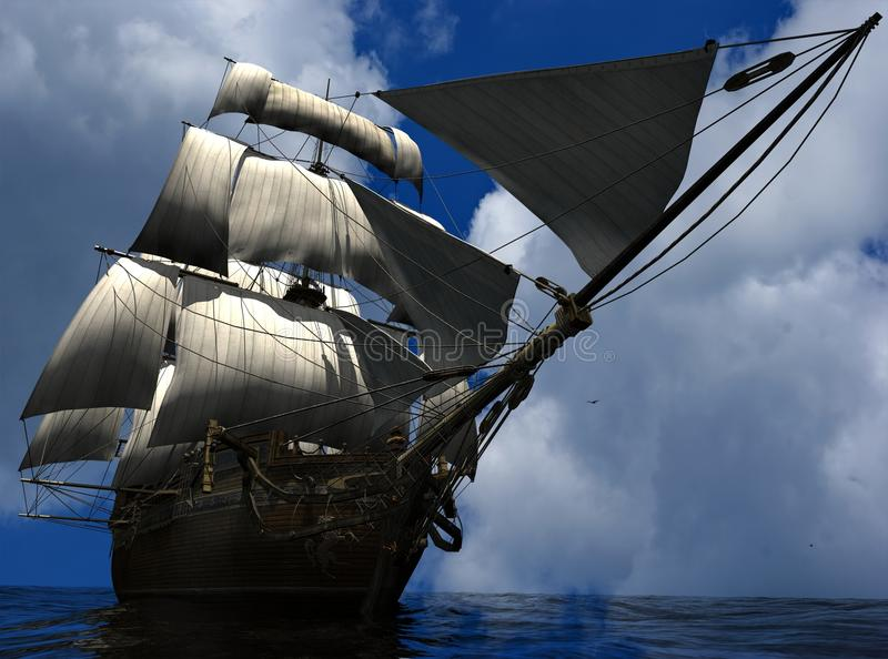 The ancient ship royalty free illustration