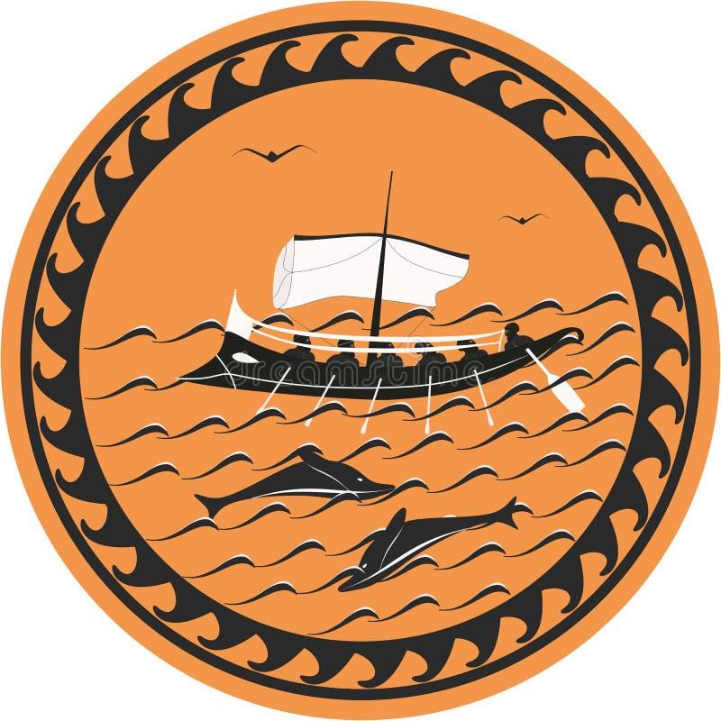 Ancient ship. Stylized to black-figured pottery stock illustration