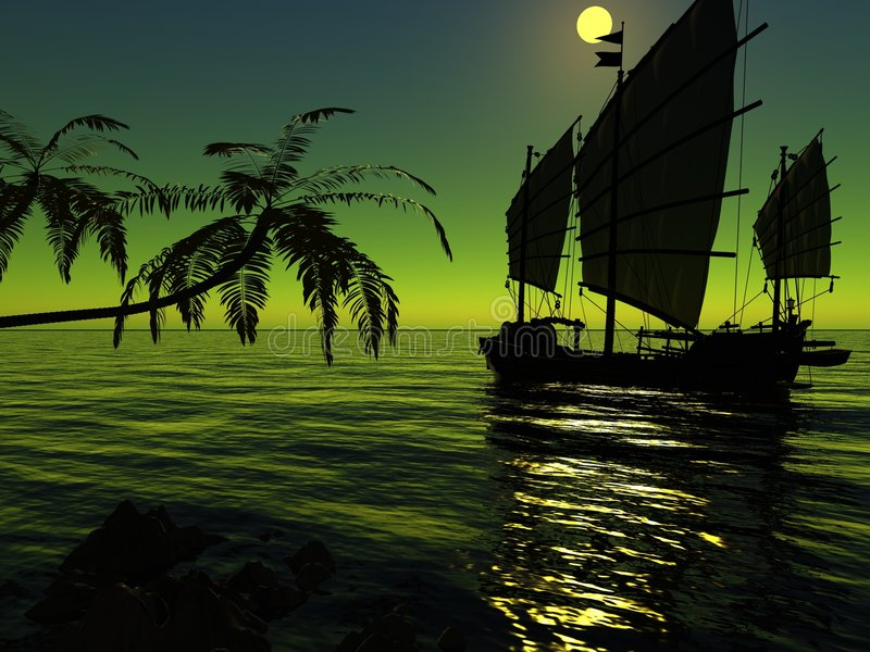 Download The ancient ship stock illustration. Image of background - 6471695