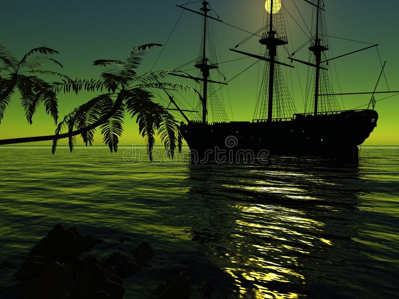 Download The ancient ship stock illustration. Image of background - 6474526