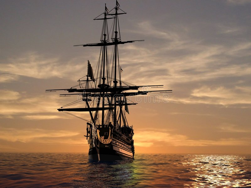 Download The ancient ship stock illustration. Illustration of captain - 7642760