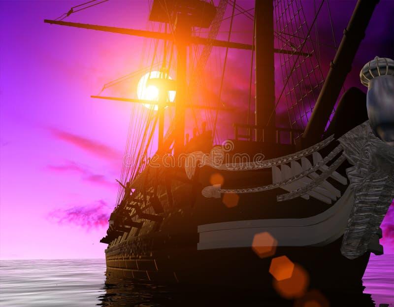 Download The ancient ship stock illustration. Illustration of voyage - 9506762