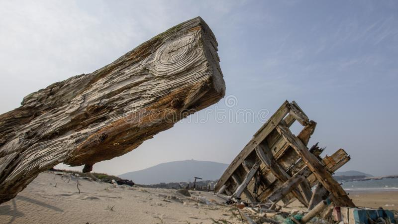 The Destiny of The Ancient Ship(7). The Ancient Ship is a culture, a carrier of culture and a textbook.  But they were dumped on the beach and let the royalty free stock image