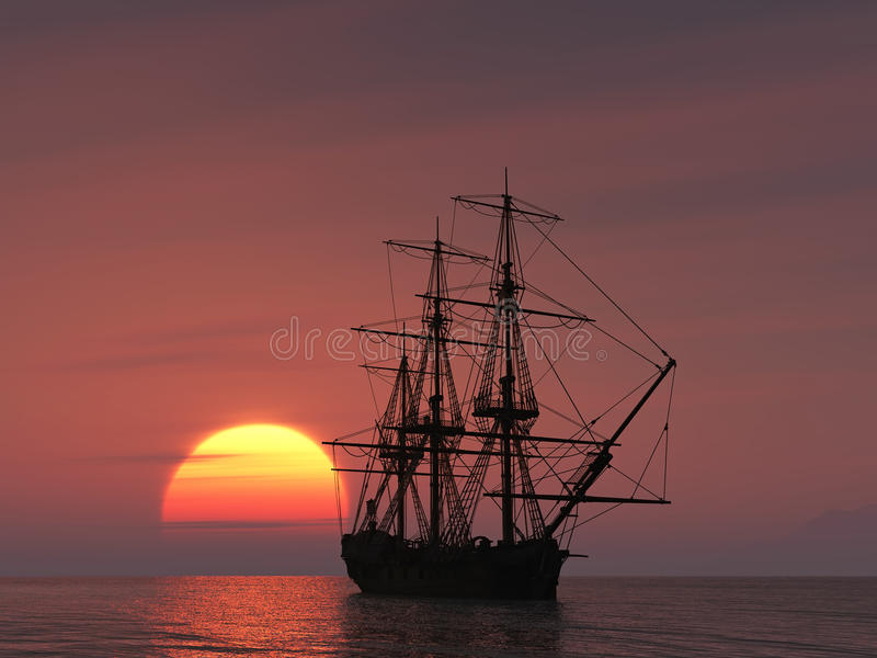 Download Ancient Ship At Sunset Royalty Free Stock Photography - Image: 12808867