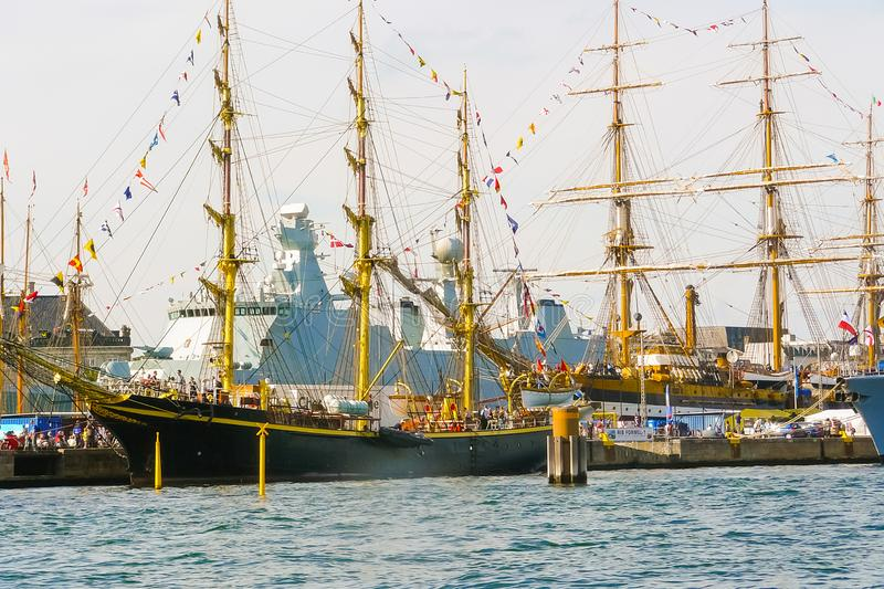 Ancient ships in the port of Copenhagen royalty free stock images
