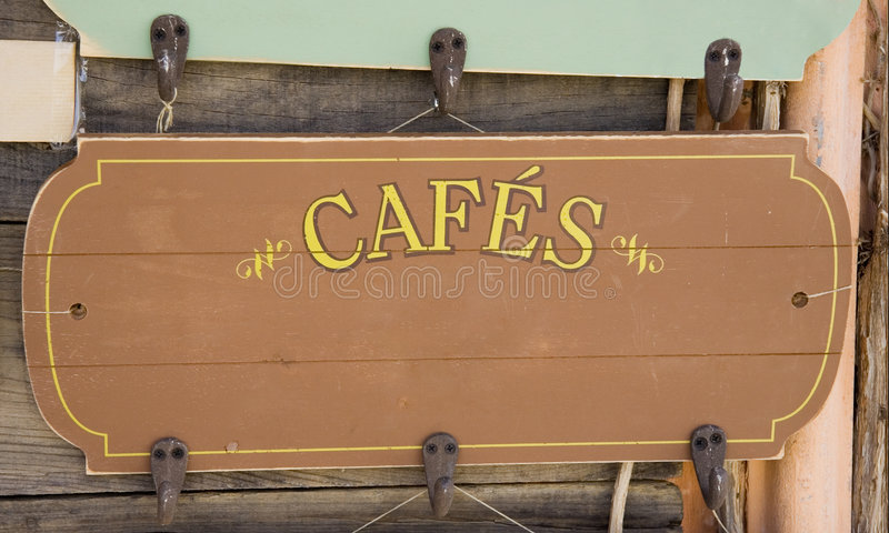 Download Ancient Sign Of A French Coffeehouse Stock Photo - Image: 1349552