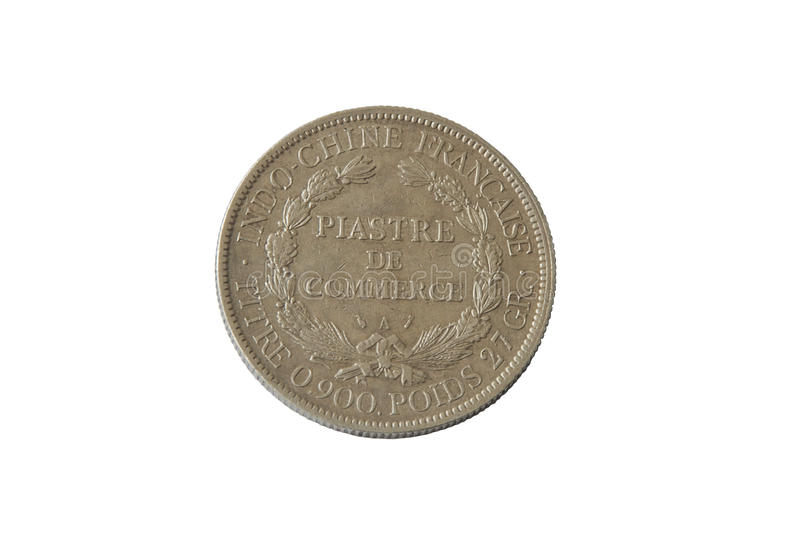 An ancient silver coin, commercial Piastre 1895, French Indochin isolate. D on a white background stock images
