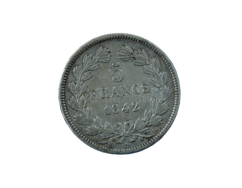 An ancient silver coin France 5 francs 1842 on a white backgroun. Old money royalty free stock images