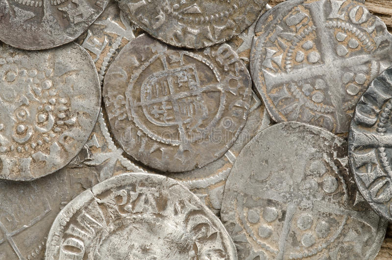 Ancient silver coins stock image